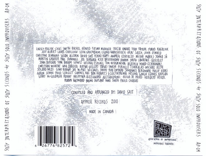 Sixty Seconds, back cover