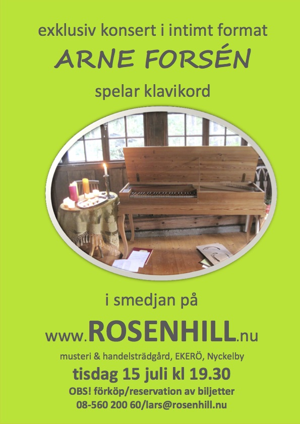Clavichord concert poster Rosenhill 2014