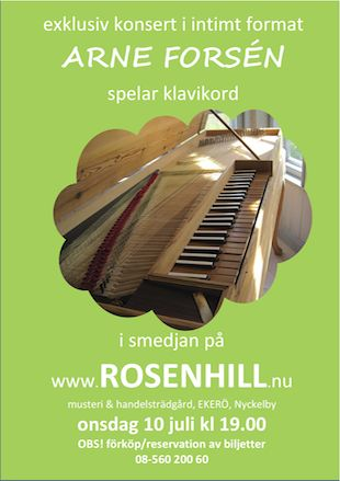 Poster for the clavichord concert by Arne Forsén 2013